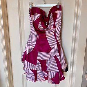 Geometric Dress Purple White Mini Short Stripes